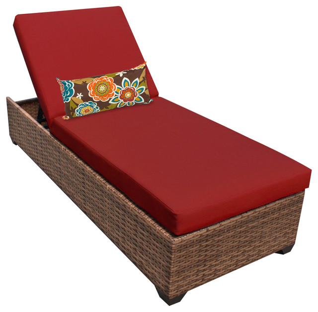 Tuscan Chaise Outdoor Wicker Patio Furniture 2 For 1 Cover Set Red Tropica