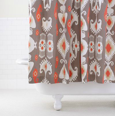 Grey Coral Ikat Shower Curtain Contemporary Shower Curtains By Cost Plu
