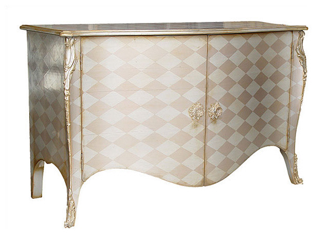 Two Door Bombe Credenza with Antiqued Silver - Side Tables ...