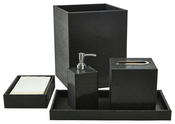 Shagreen bath accessory set black contemporary for Black bathroom ensembles