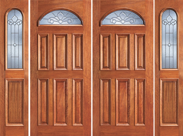 Prehung Mahogany Fan Lite Entry Double Door Two Sidelights Traditional Front Doors Tampa