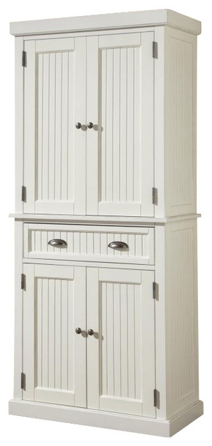 ... Nantucket Pantry in Distressed White Finish farmhouse-pantry-cabinets