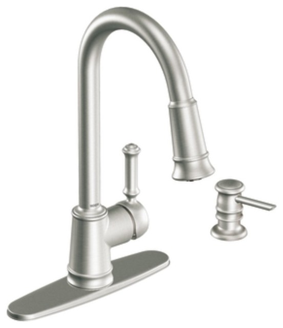 moen 87012srs lindley single handle pullout kitchen faucet