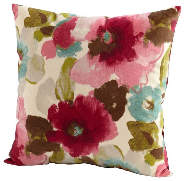Fuschia Modern Pillows : Cyan Design Zinnia Pillow in Fuschia & White - Contemporary - Decorative Pillows - by eFurniture ...