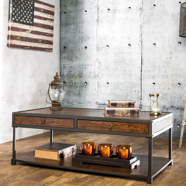 Furniture of america thorne antique oak industrial coffee for Coffee tables overstock