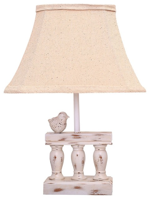 Songbird Distressed White Accent Table Lamp Farmhouse Table Lamps by La