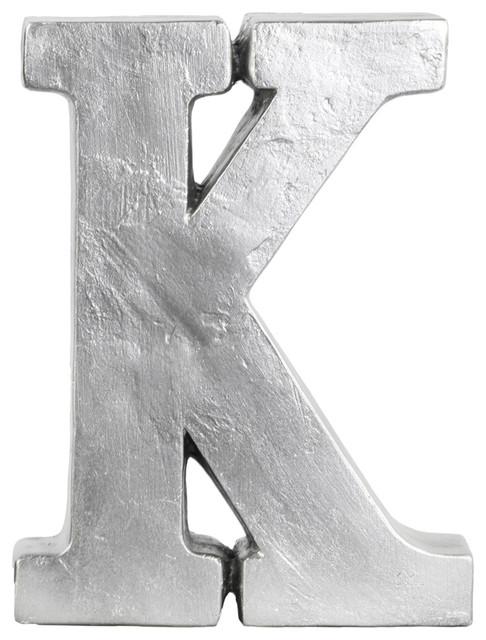 Silver Letters Wall Decor : Fiberstone alphabet tabletop decor letter quot k silver