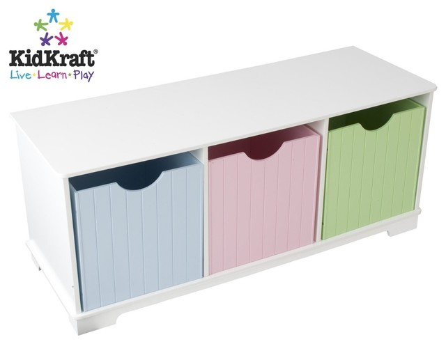 Nantucket Storage Bench Pastel By Kidkraft Contemporary Kids Storage Benches And Toy Boxes