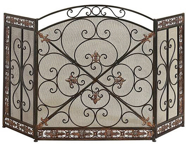 Antique Rustic Metal Mesh Fireplace Screen Victorian Fireplace Screens By