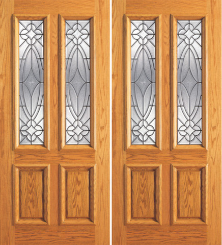Double door mahogany twin lite exterior insulated for Insulated entry door