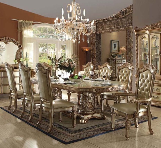 Vendome Traditional Formal Dining Room Cherry Finish: Vendome 9 Piece Formal Double Pedestal Dining Set In Gold