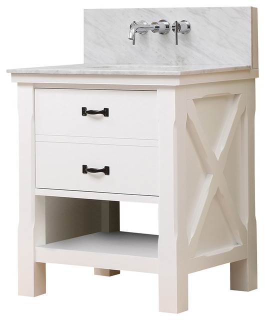 Extraordinary vanity with carrara marble top wall mounted for Marble top console sink