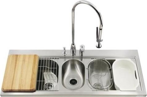 Triple Basin Kohler Kitchen Sink Traditional Kitchen