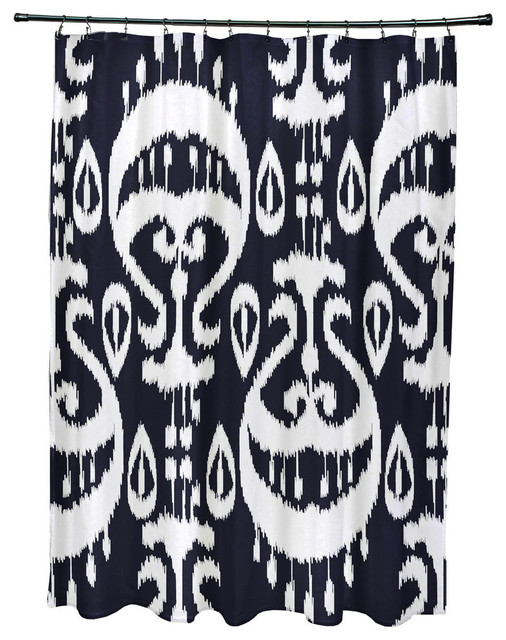 ... Geometric Print Shower Curtain, Navy Blue contemporary-shower-curtains