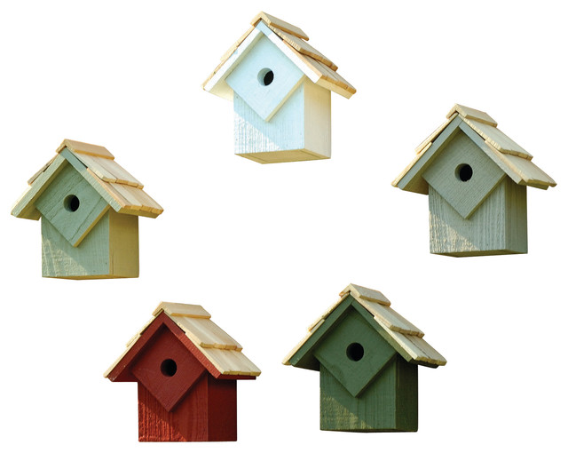 Summer Home Bird Houses Set Of 5 Assorted Colors