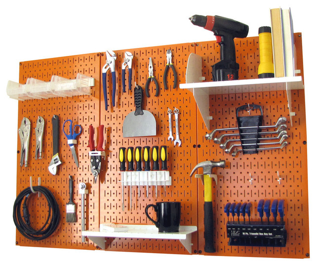 Pegboard Organizer Tool Storage Kit, Orange Toolboard and White Accessories - Contemporary ...