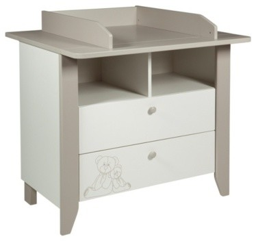 Commode table langer b b ourson blanc et marron clair - Commode et table a langer ...