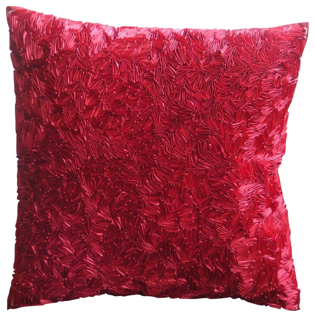 Red Silk Decorative Pillows : Hot Satin Ribbon Red Silk Throw Pillow Cover, 20x20 - Contemporary - Decorative Pillows - by The ...