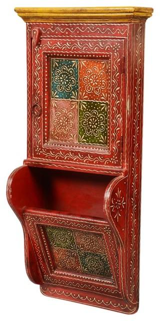 Little Red Mango Wood Wall Key Box and Mail Shelf - Traditional - Wall ...