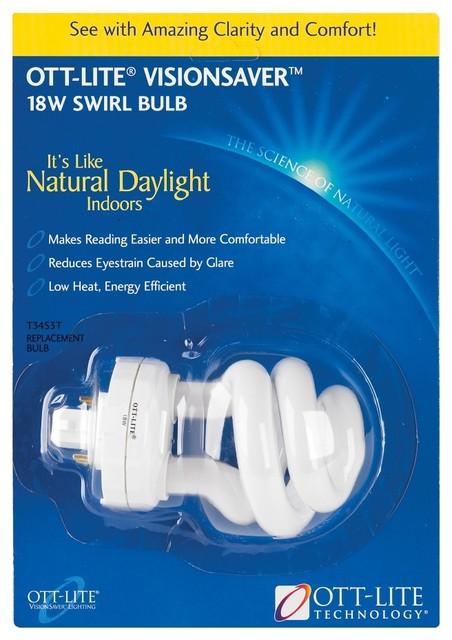 Ott Lite Visionsaver 4 Pin 18 Watt Plug In Swirl Bulb Contemporary Light Bulbs
