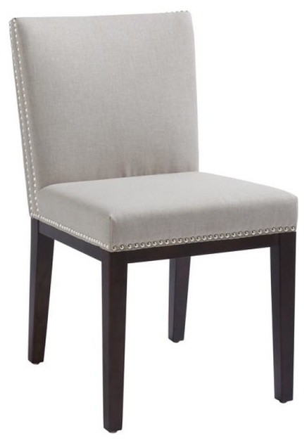 Linen Fabric Chair With Nailhead Gray Contemporary Dining Chairs By AR