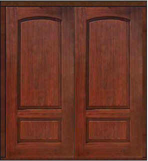 Prehung House Double Door 80 Fiberglass 2 Panel V Grooved