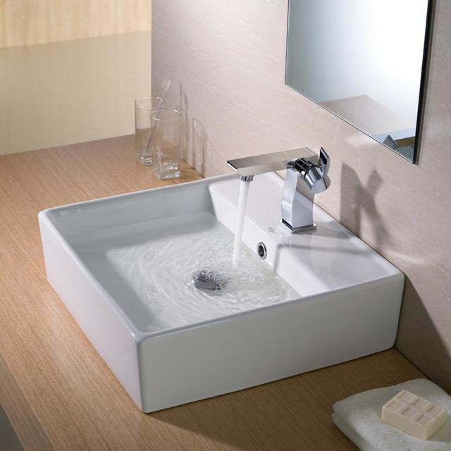 Kraus Square White Ceramic Vessel Bathroom Sink