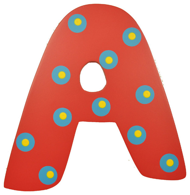 Red Polka Dot Wall Letter - A - Modern - Wall Letters - by Rosenberry Rooms