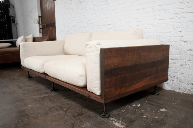 V44 Two Cushion Reclaimed Wood Sofa Modern Sofas Los Angeles on Wooden Legs Couch