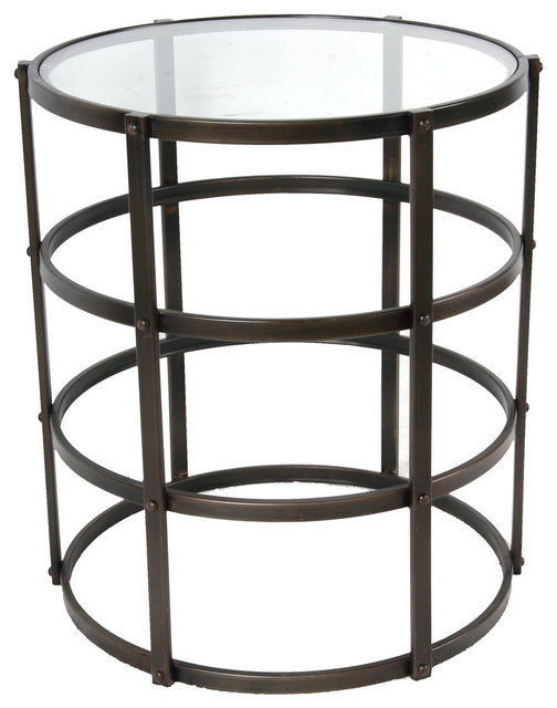 mar wrought iron barrel table with glass top industrial side tables and end tables by. Black Bedroom Furniture Sets. Home Design Ideas