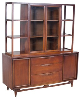 Mid Century Modern Walnut Hutch - Midcentury - China Cabinets And Hutches