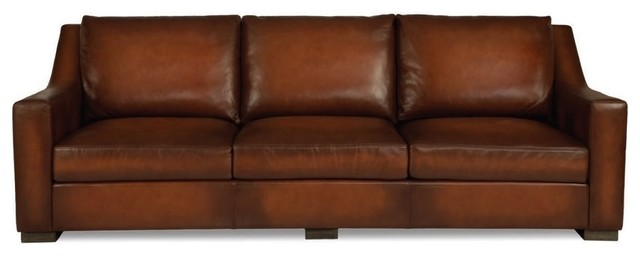 Tritone Whiskey Leather Sofa Traditional Sofas By