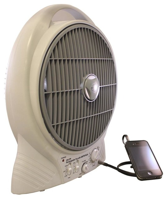Rechargeable Fan with MP3 Auxiliary Port - Contemporary - Electric Fans - by ShopLadder