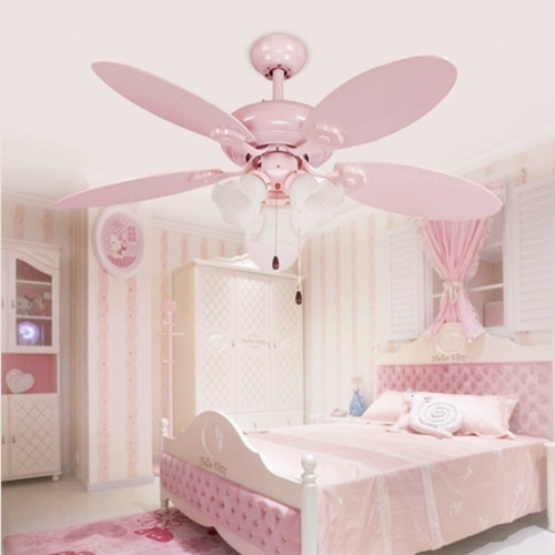 cute pink girls ceiling fan lights european style modern