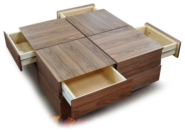 Modern Walnut Square Coffee Table With Drawers Soma Contemporary Coffee Tables San