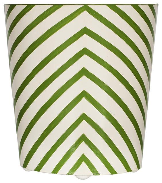 Green Zebra Hand-painted Wastebasket - Wastebaskets - by City Life Catalog