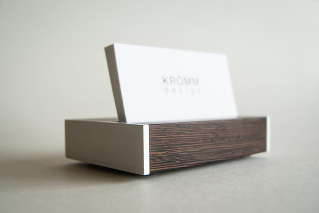 business card stand wenge wood and aluminum