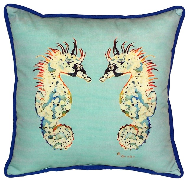 Large Decorative Outdoor Pillows : Betsy s Sea Hourse, Teal, Large Outdoor Pillow - Beach Style - Decorative Pillows - by Betsy ...