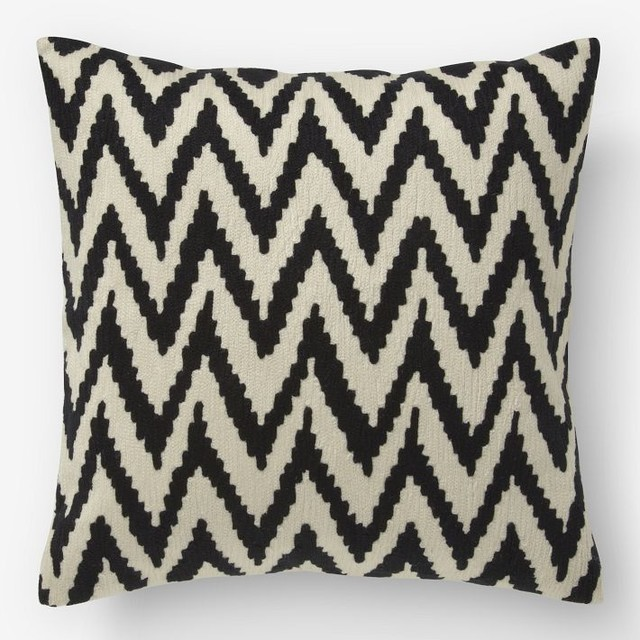 Contemporary Crewel Pillow : Chevron Crewel Pillow Cover, Iron - Contemporary - Decorative Pillows - by West Elm