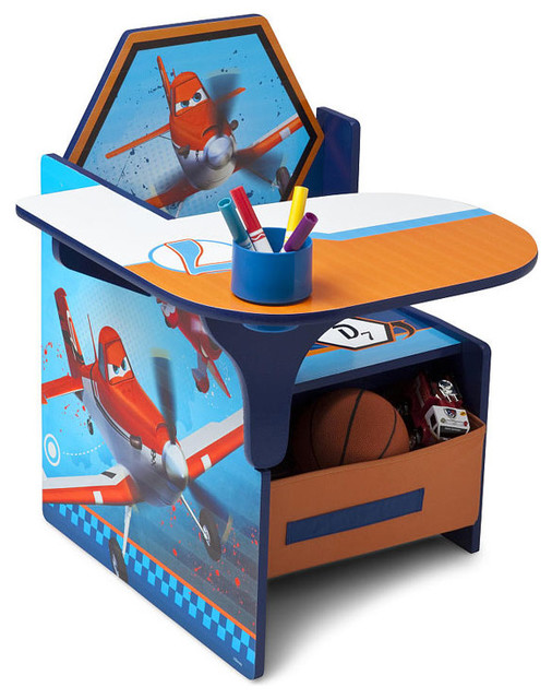 High Chair Toy Holder : Plane boys chair desk w removable bin storage toy