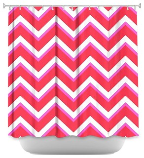 Dianoche designs layer red pink contemporary shower curtains