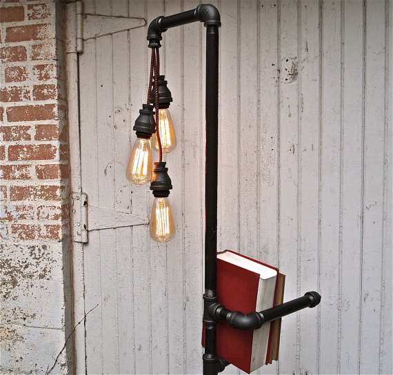 Industrial Floor Lamp Bookshelf By Stella Bleu Designs