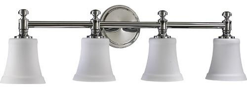 Chrome Bath Lighting Fixtures: Four-Light Chrome Bath Fixture