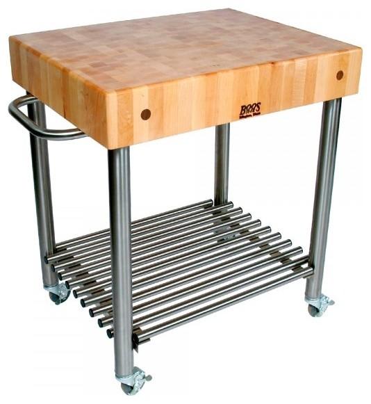 John Boos Maple And Stainless Cucina Elegante Kitchen Cart: John Boos Maple Cucina D'Amico Butcher Block Cart