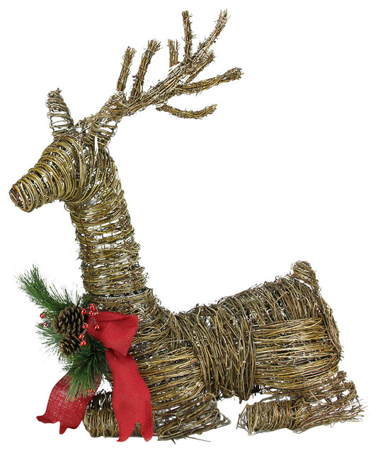 Rattan reindeer with bow and pine cones christmas yard Traditional outdoor christmas decorations