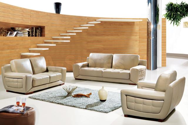 Madrid Taupe Beige Ultra Modern Living Room Furniture 3: Modern Italian Leather Living Room Set In Beige Finish