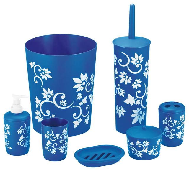 7 piece bathroom set blue transitional bathroom for Blue bath accessories set