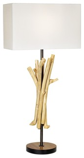 natural wood bundle and linen shade table lamp beach. Black Bedroom Furniture Sets. Home Design Ideas