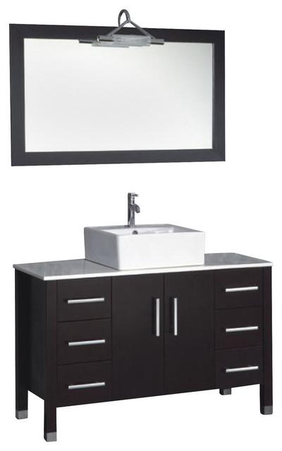 Contemporary Cappuccino Connect It Computer: 48 Inch Espresso Oak Wood & Porcelain Single Vessel Sink