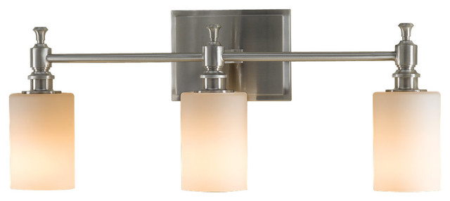 Transitional Bathroom Wall Sconces : Feiss VS16103-BS Sullivan 3 Light Brushed Steel Bathroom Wall Sconce - Transitional - Bathroom ...